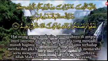 """يَـٰٓأَيُّہَا ٱلَّذِينَ ءَامَنُوٓاْ إِنَّ مِنۡ أَزۡوَٲجِكُمۡ وَأَوۡلَـٰدِڪُمۡ عَدُوًّ۬ا لَّڪُمۡ فَٱحۡذَرُوهُمۡۚ وَإِن تَعۡفُواْ وَتَصۡفَحُواْ وَتَغۡفِرُواْ فَإِنَّ ٱللَّهَ غَفُورٌ۬ رَّحِيمٌ """"Wahai orang-orang yang beriman, sesungguhnya antara isteri-isterimu dan anak-anakmu ada yang menjadi musuh bagimu, maka berhati-hatilah kamu terhadap mereka dan jika kamu memaafkan dan tidak memarahi serta mengampunkan (mereka), maka sesungguhnya Allah Maha Pengampun lagi  Maha Penyayang.""""  (Surah At-Taghabun: 14)"""