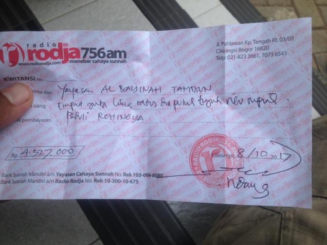 Laporan Donasi Peduli Rohingya Yayasan Al Bayyinah