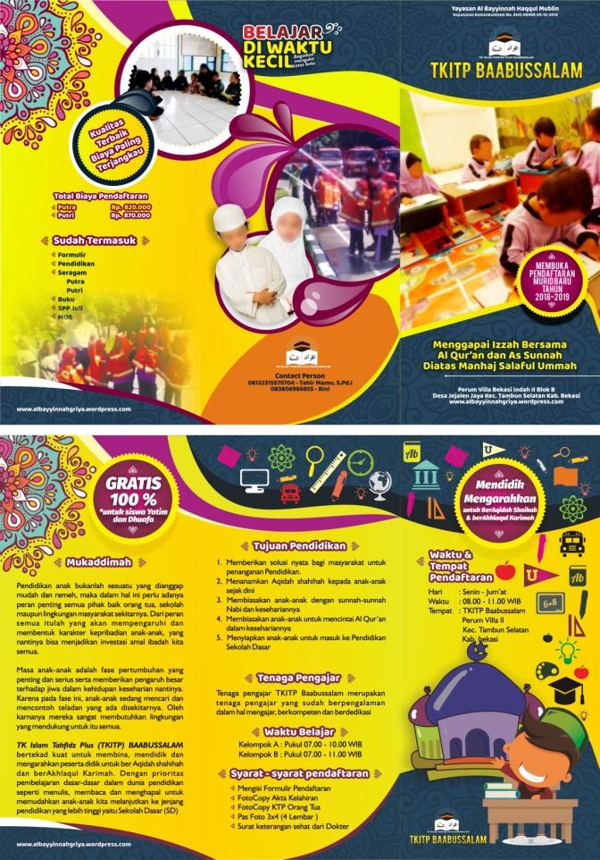 Brosur TKITP Baabussalam Tambun Selatan Bekasi Tahun 2018-2019